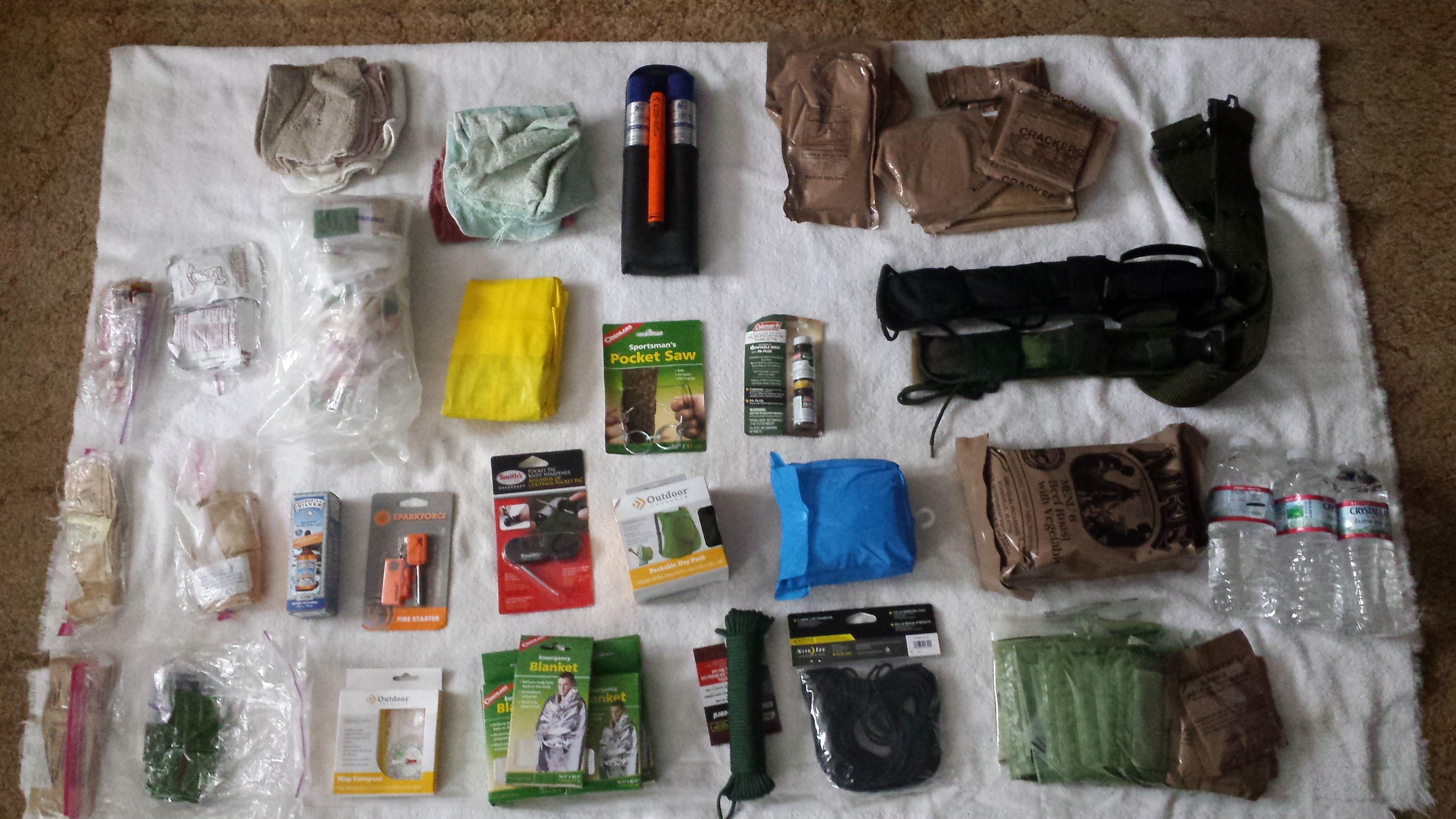 Items in main pouch of Personal Go Bag Back Pack: